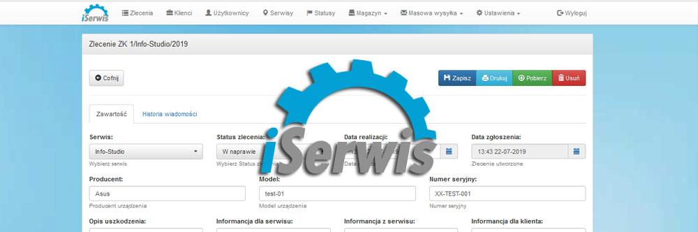 iSerwis - system obsługi zleceń serwisowych